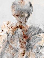 Fabio Lombardi, Ivy, 2021, disegno e grafite rielaborato digitalmente, fotografia e pittura digitale, stampato su seta, cm 125x95