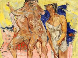 Fausto Pirandello: Bagnanti, 1950,olio su faesite, cm 68 x 92, Collezioni Merlini
