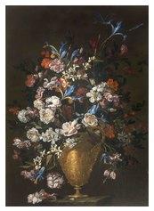 Luca Forte, Vaso di fiori istoriato, con rose e iris, 1649 Olio su tela 115 x 81 cm