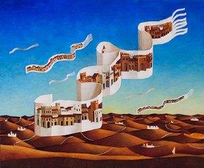 Franco Fortunato - Le Città del vento - tempere e olio su tavola cm 50x60