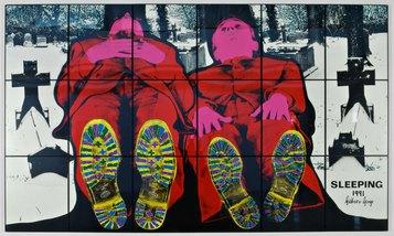 Gilbert & George - Sleeping, 1991. Stampa fotografica colorata a mano su masonite, cm 253 (a) x 426 (la) Collezione permanente MAMbo – Museo d'Arte Moderna di Bologna. Courtesy Anthony D'Offay Gallery, Londra, 1998