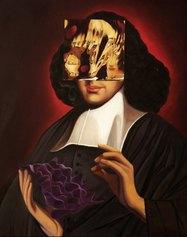 Giulio Frigo, In Superficie (Spinoza Topologico) II, 2020, oil on canvas, 57,5×47,5×9 cm - Courtesy by the artist and Francesca Minini