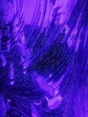 Giulio Frigo, Presentatori di Presenza (Pulviscoli Eraclitei), 2020, oil and phosphorescent acrylic on board, UV light, 4 fan LED Holograms, 244×305 cm, detail - Courtesy by the artist and Francesca Minini