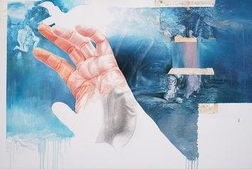 Giuseppe Ciracì, L'Angelo di Tobia, 2020, sanguigna, matita, pastello bianco, olio, tre pagine del libro esposte alle intemperie per tre mesi e applicate su tela, cm 100x150