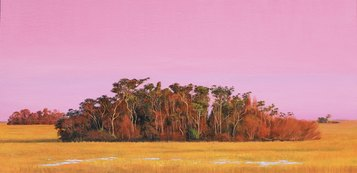Jorge Cavelier, Isla bosque, Olio su lino, 80x40cm, 2020