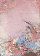 Leiko Ikemura, A Bit of Blue, 2019, tempera su juta / tempera on jute, 70 x 50 cm
