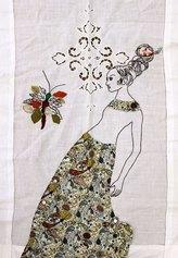 Loredana Galante, Portatrice, 2021, ricamo e tessuto cucito su tende antiche
