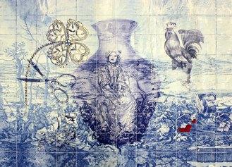 Loredana Galante, Tableau per Come acque versate, 2021, composizione grafica di disegni e dipinti, stampa transfer su raso cotone e poliestere Dino Zoli Textile e intervento di ricamo, cm 70x100