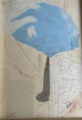 Marco Nizzoli, Azzurri pensieri, tecnica mista su carta, cm21x11