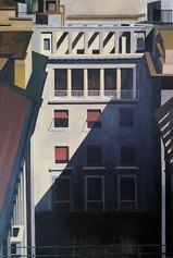 Marco Petrus. Interno [Milano], 1997, olio su tela, 150 × 100 cm. Melbourne, Collezione Merlatti, courtesy Matteo Maria Mapelli Arte Moderna e Contemporanea