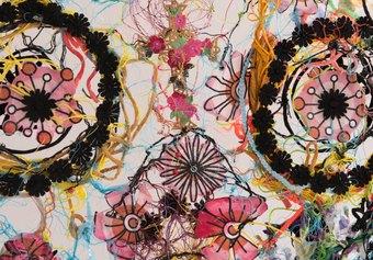 Marina Gasparini, dettaglio dell'installazione Attraverso, 2015-2021, assemblage di materiali tessili di riuso, filo di cotone, filo metallico #2