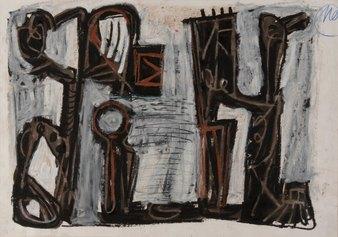 Markus Lupertz_S_T_1990_cm43.2x61.4_mista su carta