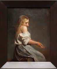 Markus Schinwald, Emma, 2016, Oil on canvas, 40.3 x 32.5 x 1.7 cm, 49 x 41 x 5 cm (framed) - Courtesy: the artist; Gió Marconi, Milan - Photo: Filippo Armellin