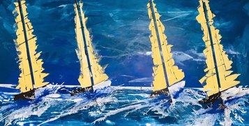 Matteo Must, Regata gialla, 100x200 cm, spatolato su tela, 2021