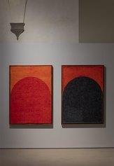 Da sinistra: McArthur Binion - Altar:Work XI e Altar:Work IX, 2020 - Inchiostro su carta - Ph: Serge Domingie Firenze