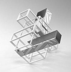 Nadia Galbiati. Spazio costruito V 2017. Ferro acidato a morsura, ferro verniciato, h 45x50x60 cm