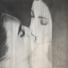 Omar Galliani, Baci rubati - Covid 19, 2020, carboncino e grafite su tela, cm 140x140