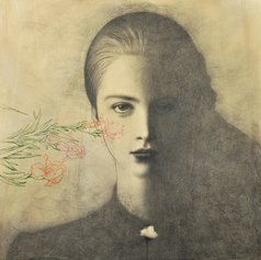 Omar Galliani, Clorophelia, 2018, matita su tavola e inchiostro, cm 150x150