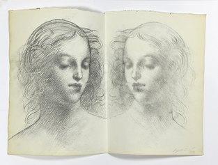 Omar Galliani, Da e per Raffaello, 1977, carboncino su carta antica, cm. 38x49