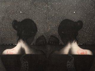 Omar Galliani, Roma Omar Amor, 2012, matita su tavola + pastello, cm 315x400