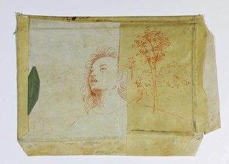 Omar Galliani, Studio per un'Annunciazione mai eseguita, 1978, inchiostro su pergamena antica e foglia, cm. 31x44