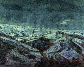 Paesaggio innevato 81x100cm olio su  tela di lino