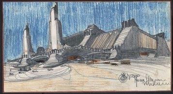 Antonio Sant'Elia. Progetto per la Nuova stazione di Milano, 1914, matita nera e colorata su carta, 15 x 28 cm. Collezione privata