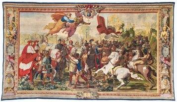 Manifattura Gobelins, Attila cacciato da Roma, Parigi, Mobilier National, (inv. GMTT 173/6),1732-1736 c., cm 485 x 850.