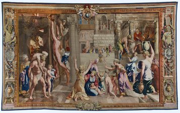 Manifattura Gobelins, Incendio di Borgo, Parigi, Mobilier National, (inv. GMTT 177),1690 c., cm 487 x 800.