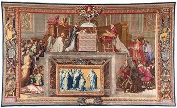 Manifattura Gobelins, Messa di Bolsena, Parigi, Mobilier National, (inv. GMTT 173/5),1732-1734, cm 480 x 800.
