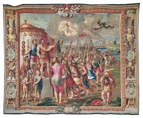 Manifattura Gobelins, Visione di Costantino, Parigi, Mobilier National, (inv. GMTT 175/8),1707-1712 c., cm 496 x 620.