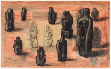Stone Figures in a Landscape Setting, 1935, HMF 1163 charcoal, pencil, wax crayon, pastel (rubbed and washed), pen and ink - photo: Sarah Mercer